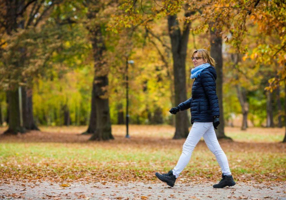 walking in city park